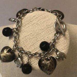 Vintage bracelet w/ murano hearts & onyx beads
